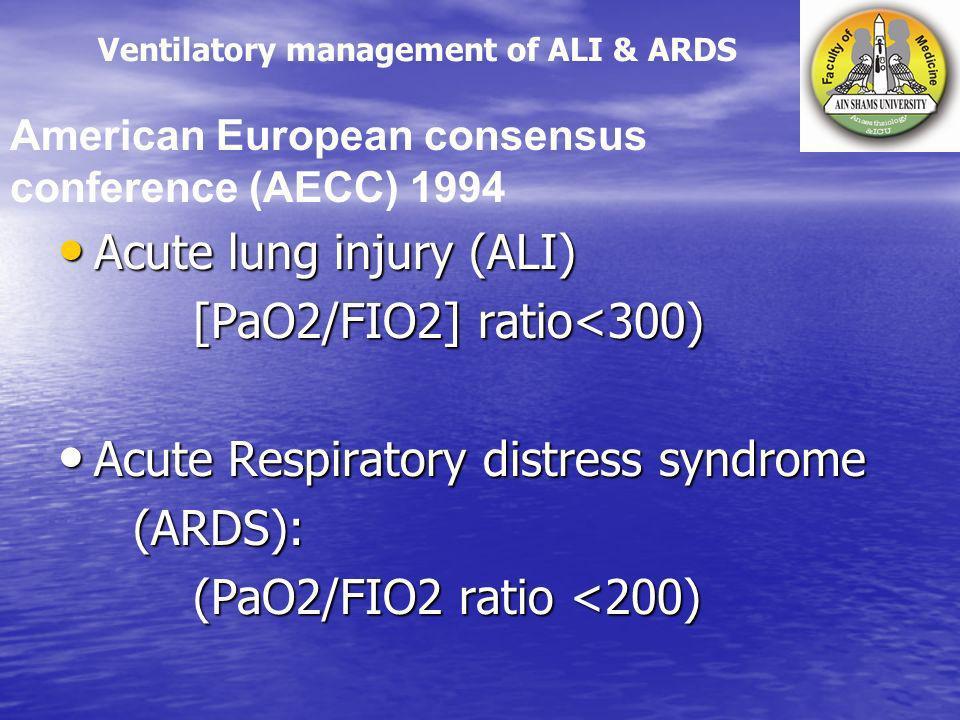 Acute lung injury (ALI) [PaO2/FIO2] ratio<300)